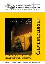 Dezember 2013 - Februar 2014 - Kirchengemeinde Hütten