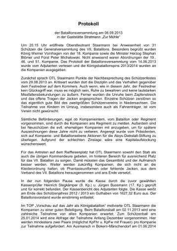 Protokoll vom 05.09.08 - VII. Bataillon