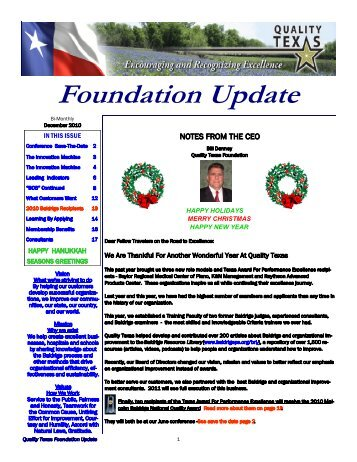 December Newsletter 2010 - Quality Texas