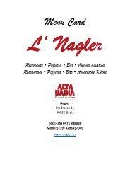 Menu Card - Nagler Ristorante Pizzeria in Alta Badia