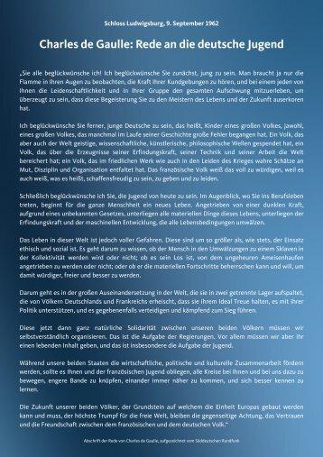Charles de Gaulle: Rede an die deutsche Jugend - CDU Ludwigsburg