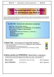 Das Sprayprogramm von Kwasny im Sortiment von RUCO