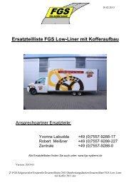 Ersatzteilliste FGS Low-Liner mit Kofferaufbau
