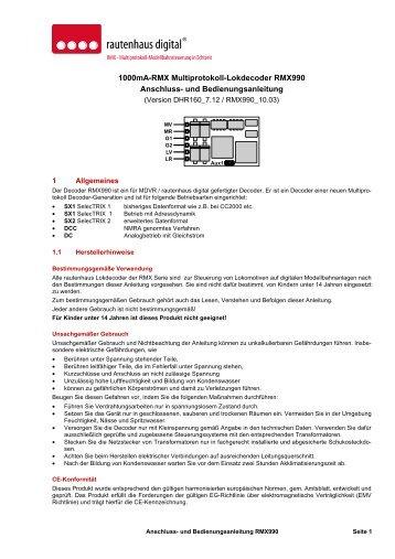 Anleitung RMX-Lokdecoder RMX990 - MDVR