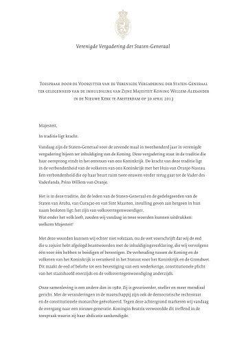 Toespraak Voorzitter van de Verenigde Vergadering - Eerste Kamer ...