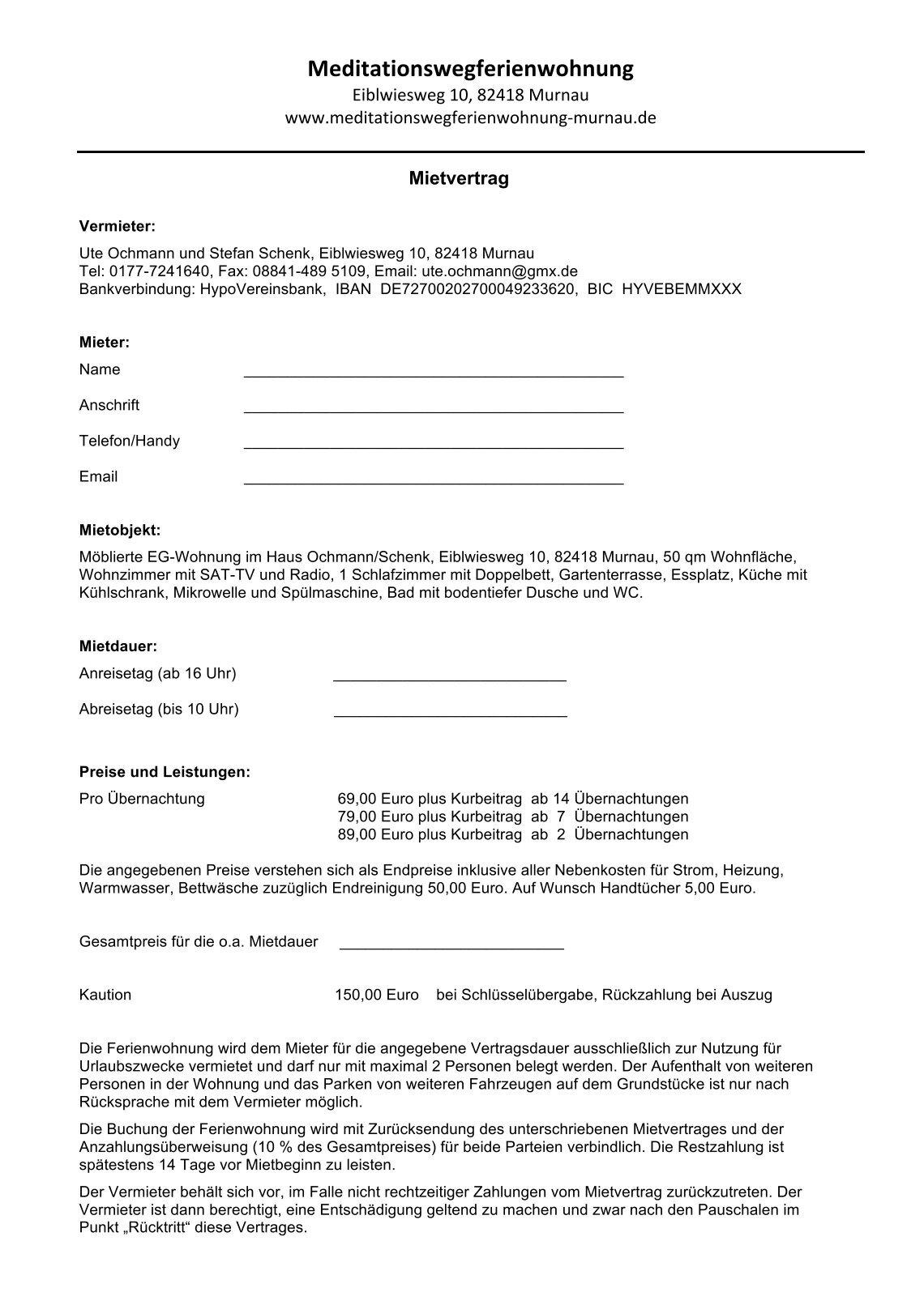 Berühmt Mietvertragsvorlage Für Ferien Ideen - Beispiel Business ...