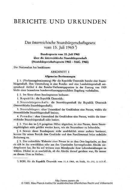 Das österreichische Staatsbürgerschaftsgesetz vom 15. Juli 1965