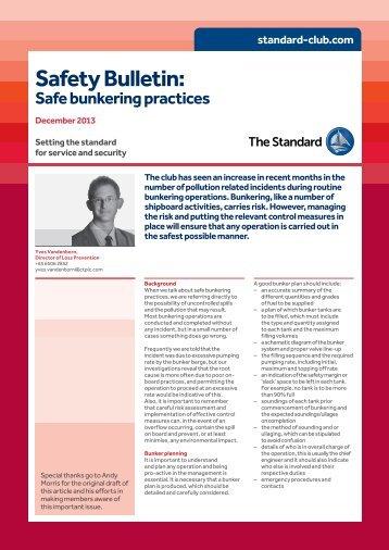 Standard Safety Bulletin: Safe bunkering, December 2013