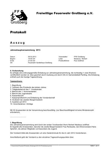Auszug aus dem Protokoll der Jahreshauptversammlung 2013