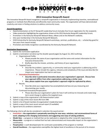 2013 Innovative Nonprofit Award - Kentucky Nonprofit Network