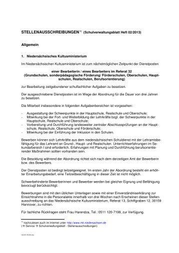 Amtlicher Teil Niedersächsisches Kultusministerium Niedersachsen