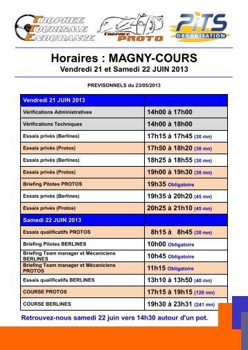 Horaires : MAGNY-COURS - Trophee Tourisme Endurance