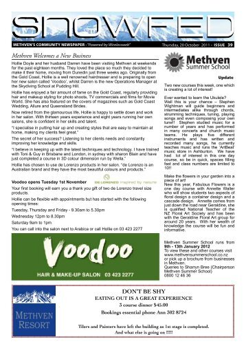 Methven Welcomes a New Business - Wep.co.nz