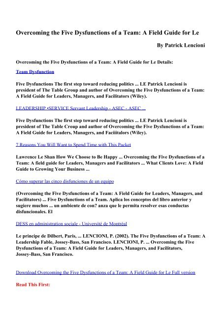 Download Overcoming The Five Dysfunctions Of A Team A Field