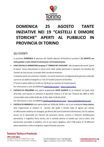 """domenica 25 agosto tante iniziative nei 19 """"castelli ... - Turismo Torino"""