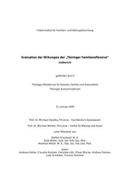 """Evaluation der Wirkungen der """"Thüringer Familienoffensive"""""""
