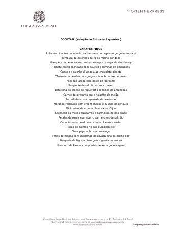 COCKTAIL (seleção de 5 frios e 5 quentes ) CANAPÉS FRIOS ...