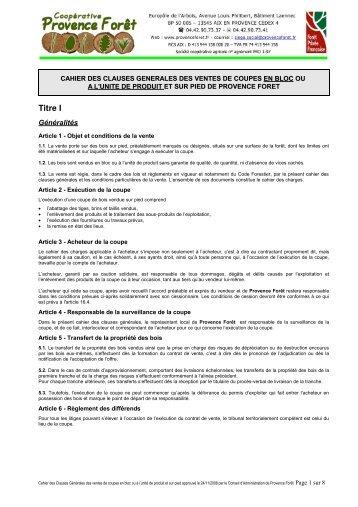Cahier des Clauses Générales des ventes de coupes en bloc et su