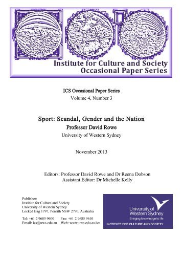 Sport: Scandal, Gender and the Nation - University of Western Sydney