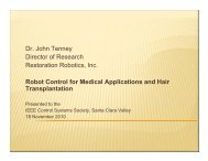Robot control for medical applications and hair transplantation