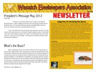 May Newsletter - The Wasatch Beekeepers Association