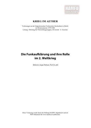 Die Funkaufklärung und ihre Rolle im zweiten ... - Stiftung HAMFU