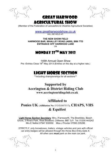 LIGHT HORSE SECTION - Accrington & District RIding Club