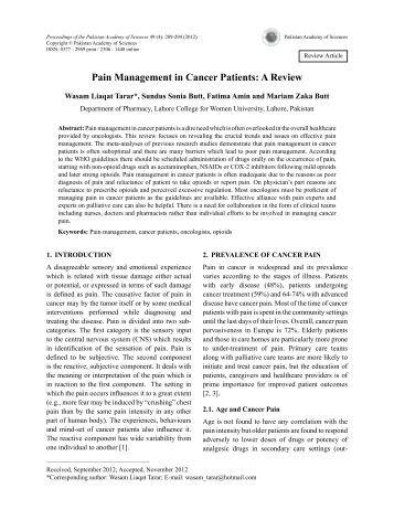 Pain Management in Cancer Patients: A Review - Pakistan ...