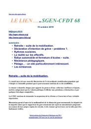 Rythmes scolaires. • La - Sgen-CFDT ALSACE