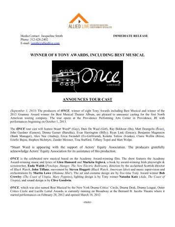 ONCE Tour Cast Announcement Release 09 03 13 - The Smith Center