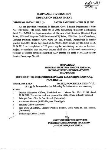 si 6Tal ) - Directorate of School Education, Haryana