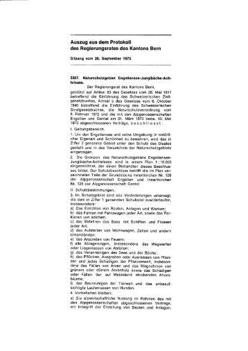 Regierungsratsbeschluss Naturschutzgebiet ... - Kanton Bern