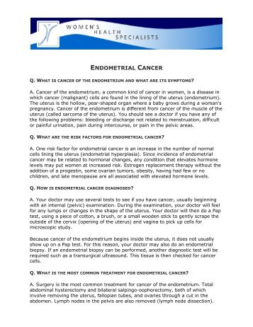 ENDOMETRIAL CANCER - Women's Health Specialists