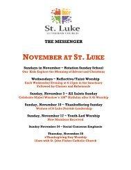 Sunday, November 10 - St. Luke Lutheran Church