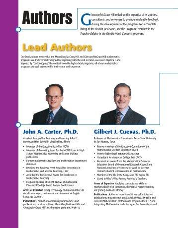 Lead Authors - Macmillan/McGraw-Hill