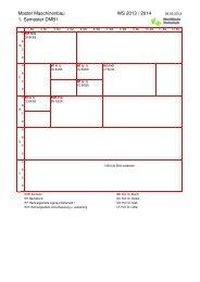 Master Maschinenbau WS 2013 / 2014 1. Semester DMB1