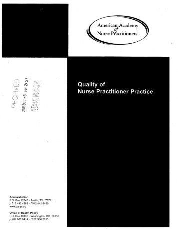 Quality of Nurse Practitioner Practice - Swampland