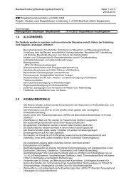 Baubeschreibung - BW Projektentwicklung