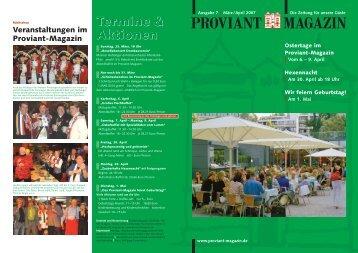 Termine & Aktionen Termine & Aktionen - Proviant-Magazin