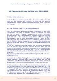 40. Newsletter für den Aufstieg vom 28.02.2013 - Monika Runa