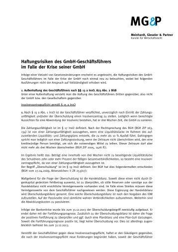 Haftungsrisiken des GmbH-Geschäftsführers im Falle der Krise ...