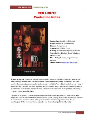 RED LIGHTS Production Notes - VisualHollywood