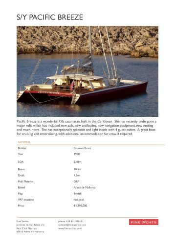 Pacific Breeze Exposee - Fine Yachts
