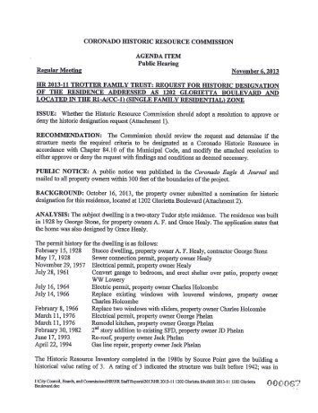 hr 2013-11 trotter family trust: request for historic ... - City of Coronado