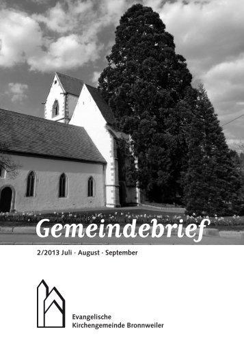Gemeindebrieƒ - Kirchengemeinde Bronnweiler