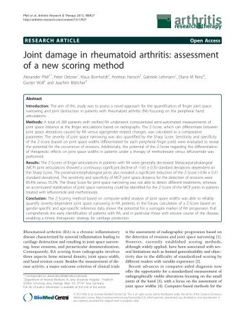 Joint damage in rheumatoid arthritis: assessment of a new scoring ...
