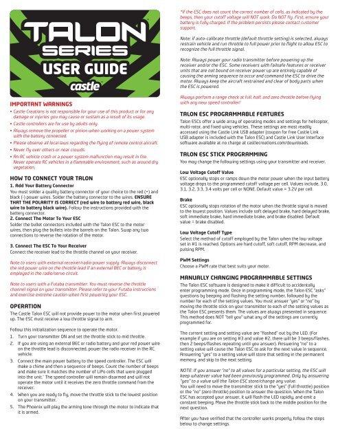 Talon User Guide - Castle Creations