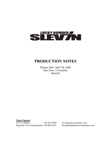 Lucky Number Slevin Production Notes - The Weinstein Company