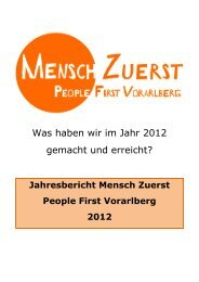Was haben wir im Jahr 2012 gemacht und erreicht? - Mensch Zuerst