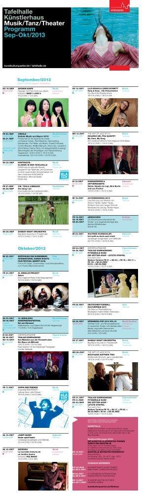 Tafelhalle Künstlerhaus Musik/Tanz/Theater Programm Sep-Okt/2013